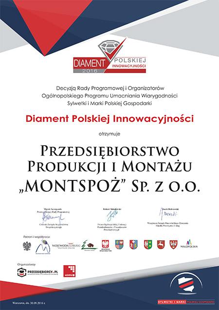 Dyplom Diament Innowacyjności